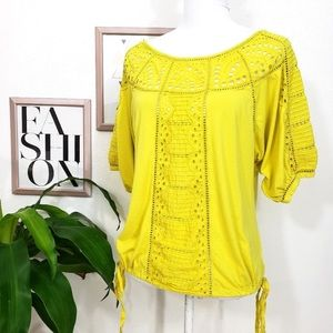 Anthropologie Vanessa Virginia Bright Yellow Lace
